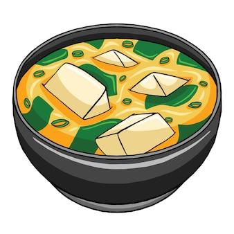 Japońskie jedzenie zupy miso w stylu płaskiej konstrukcji