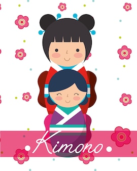Japońskie kimono lalek kokeshi
