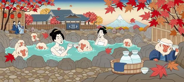 Japońskie kobiety w stylu ukiyo-e i urocza małpa ciesząca się gorącą wiosną i sake, piękną scenerią klonową!