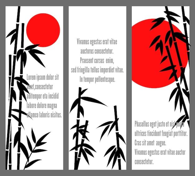 Japońskie lub chińskie banery bambu.
