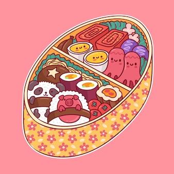 Japońskie pudełko na lunch wypełnione jedzeniem w stylu kawaii