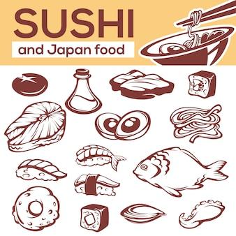 Japońskie składniki żywności, wszystkie do menu z makaronem i sushi