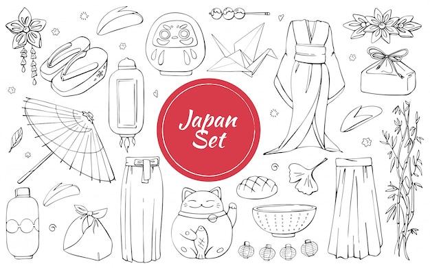 Japońskie tradycyjne artykuły do noszenia i kultury