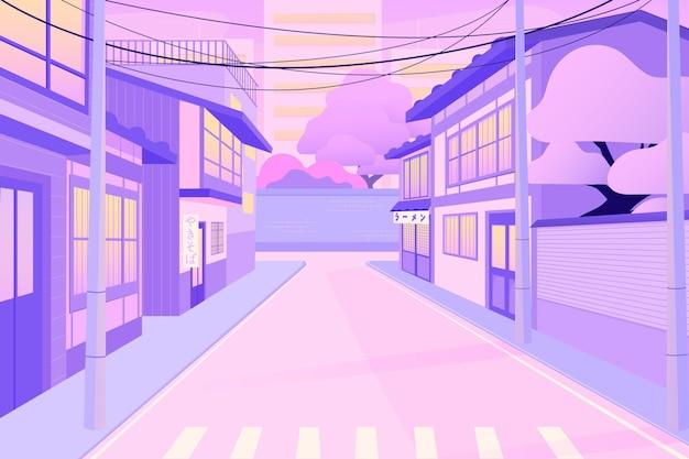 Japońskie ulice z nowoczesnymi domami
