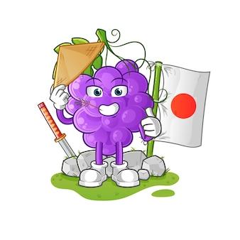 Japońskie winogrona. postać z kreskówki
