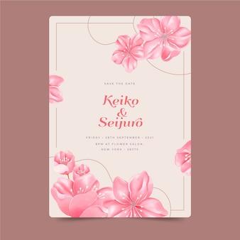 Japońskie zaproszenie na ślub z dużymi kwiatami