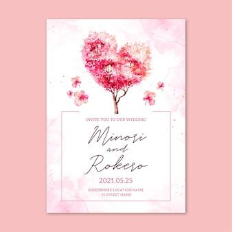 Japońskie zaproszenie na ślub z kwiatami sakury