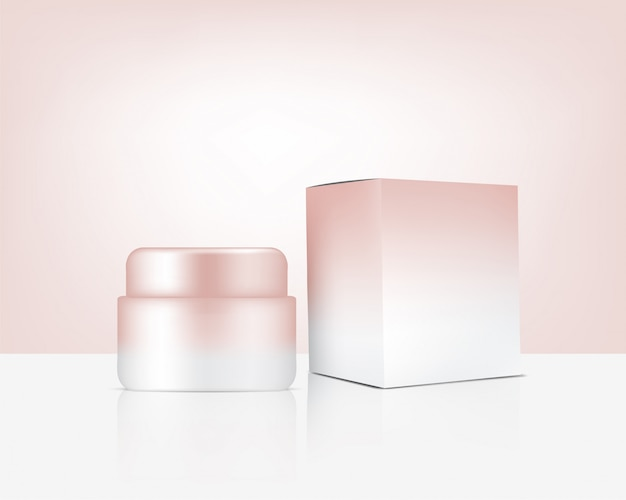 Jar mock up realistic rose gold cosmetic and box for skincare product