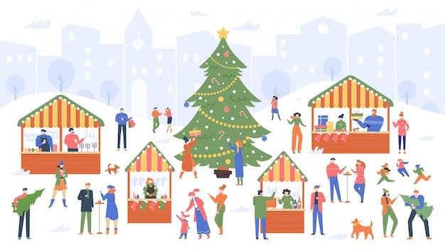 Jarmark bożonarodzeniowy. jarmark wakacyjny, ludzie z kreskówek chodzą po ozdobionych straganach na świeżym powietrzu i kupują kolorowe ilustracje wina, żywności i pamiątek świątecznych. targ noworoczny, dekoracja zimowa
