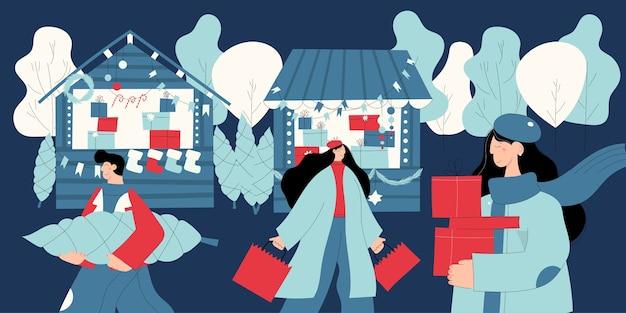 Jarmark bożonarodzeniowy lub świąteczny targ na świeżym powietrzu na rynku miejskim z ludźmi spacerującymi między udekorowanymi straganami