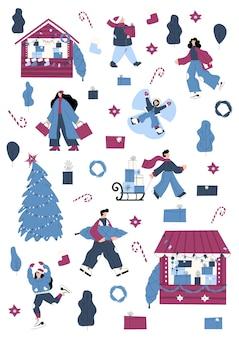Jarmark bożonarodzeniowy zestaw z bożonarodzeniowymi przedmiotami i postaciami ludzi, którzy jeżdżą na łyżwach i niosą prezenty