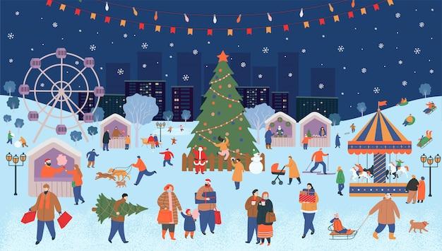 Jarmark świąteczny, boże narodzenie w parku. duży zbiór ludzi zimą. ludzie spacerują, kupują prezenty, piją kawę, jeżdżą na łyżwach, jeżdżą na nartach, lepią bałwana, chodzą psy. ilustracja wektorowa płaski kreskówka.