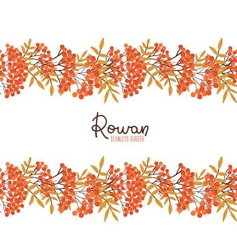 Jarzębina bezszwowe obramowanie opadających liści wzór płaski wektor ilustracja botaniczna girlanda czerwona jarzębina berr...