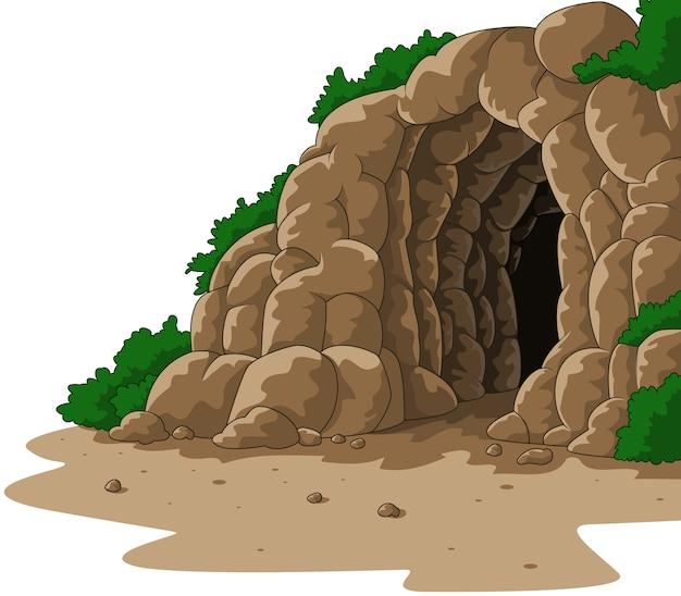 Jaskinia kreskówka na białym tle