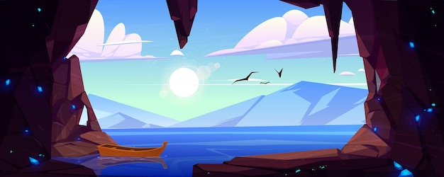 Jaskinia w skale z niebieskimi kryształami i widokiem na jezioro i góry na horyzoncie. wektor kreskówka krajobraz wejścia do kamiennej jaskini, morze, drewniana łódź, latające ptaki, słońce i chmury na niebie