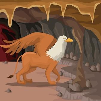 Jaskinia wnętrza tło z gryf grecki mitologiczny stwór