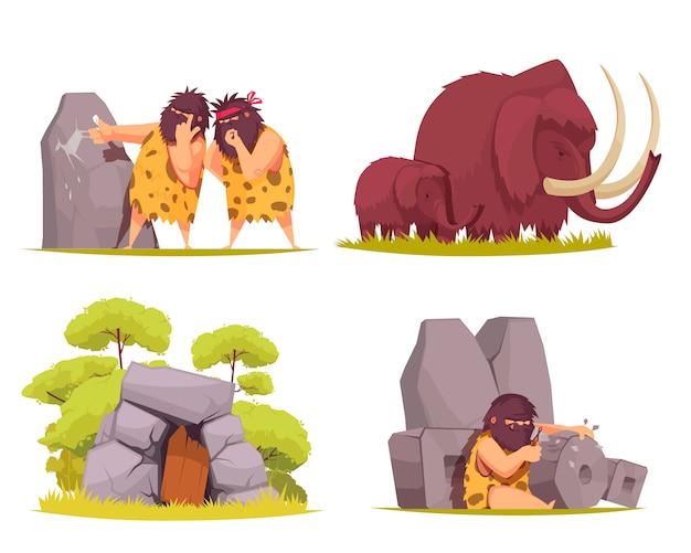 Jaskiniowiec koncepcja zestawu prymitywnych mężczyzn ubranych w skórki zwierząt zajęty codziennymi zmartwieniami kreskówek