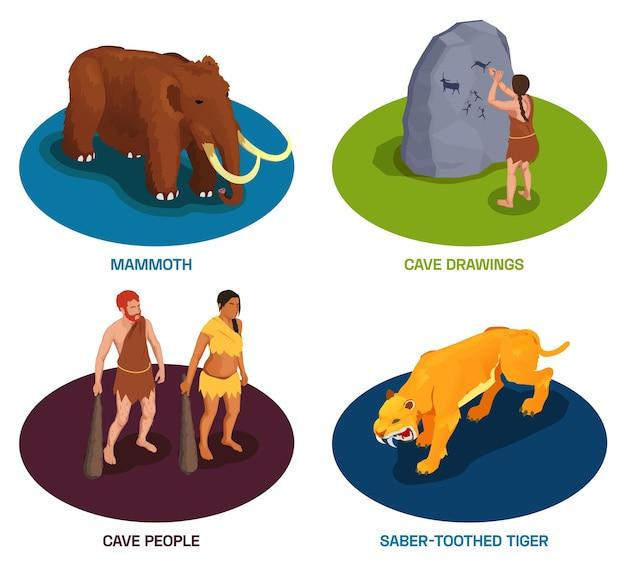 Jaskiniowiec prehistoryczni ludzie prymitywni zestaw kompozycji z tekstem starożytnych zwierząt i postaci plemiennych