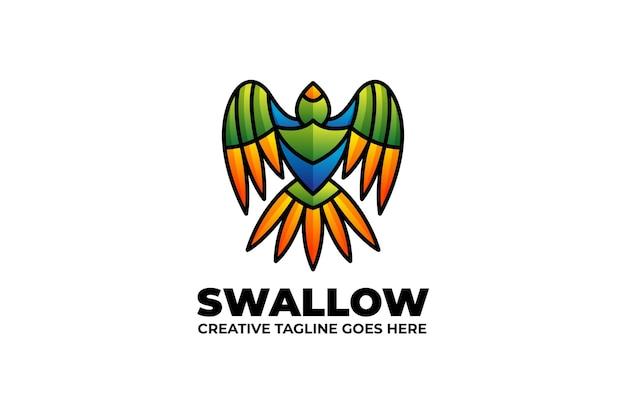 Jaskółka kolorowe gradient monoline logo