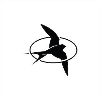 Jaskółka logo nowoczesna okrągła rama prosta