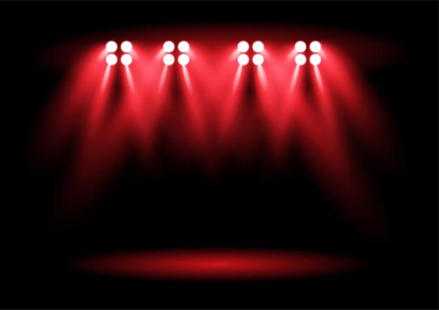 Jaskrawoczerwone oświetlenie stadionu stadionowego