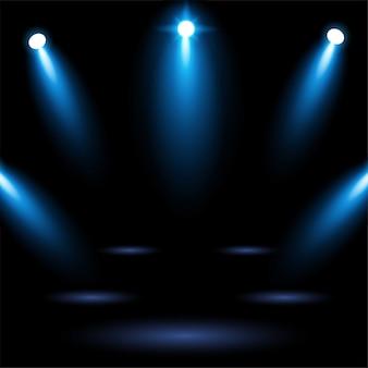 Jaskrawy błękitny stadium areny tło z oświetleniowym światłem reflektorów