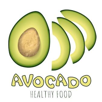 Jaskrawy wektorowy ustawiający kolorowa połówka i plasterki świeży avocado