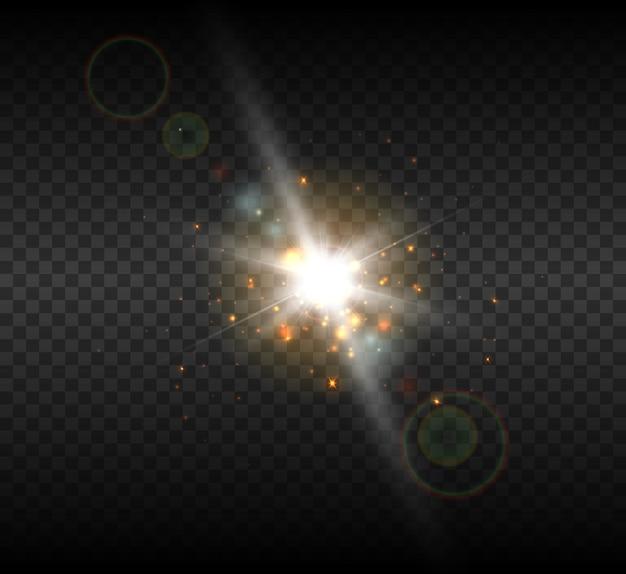 Jasna biała gwiazda z flarami i promieniami obiektywu.