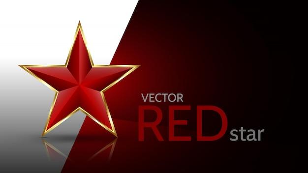 Jasna, czerwona gwiazda 3d ze złotą ramką na białym i czerwonym