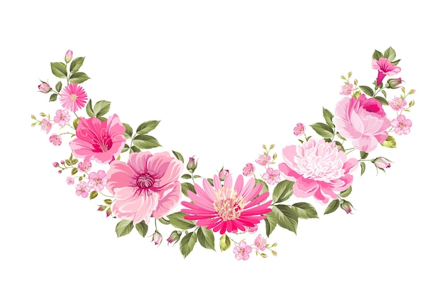 Jasna girlanda z kwitnących róż