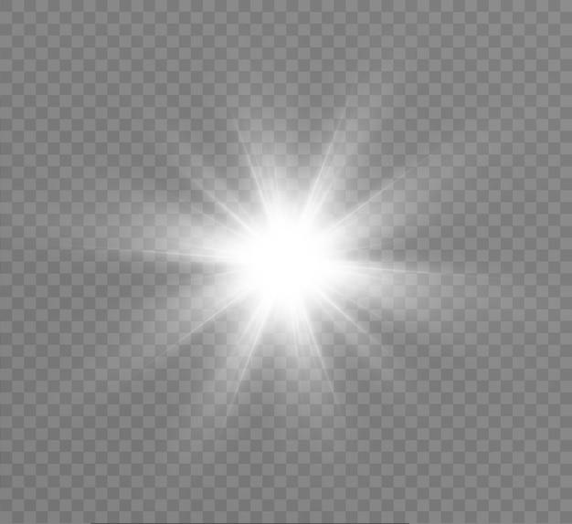 Jasna gwiazda, jasne słońce, efekt świetlny.