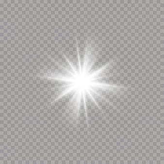 Jasna gwiazda na przezroczystym tle. blask, wybuch, blask, linia, rozbłysk słoneczny. biała świecąca gwiazda z lekkim wybuchem. lśniące magiczne cząsteczki pyłu. ilustracja,.
