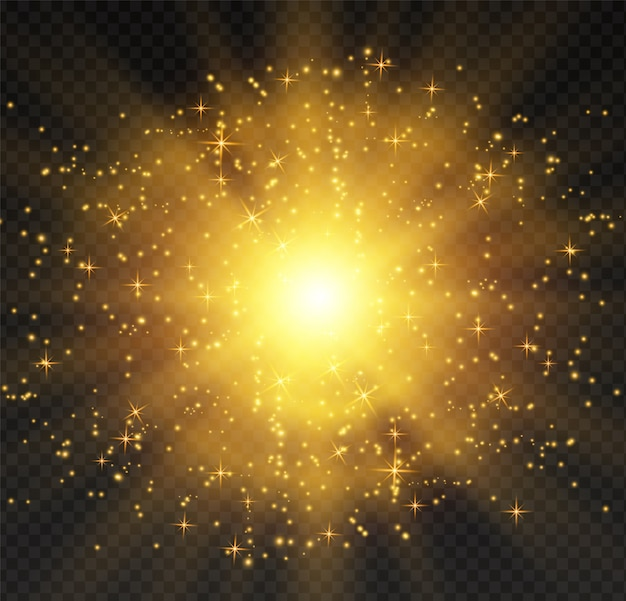 Jasna gwiazda. półprzezroczyste słońce świeci, jasny blask.