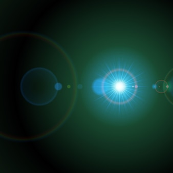 Jasna gwiazda w zielonej przestrzeni. galaktyczny rozbłysk z rozbieżnymi tęczowymi okręgami