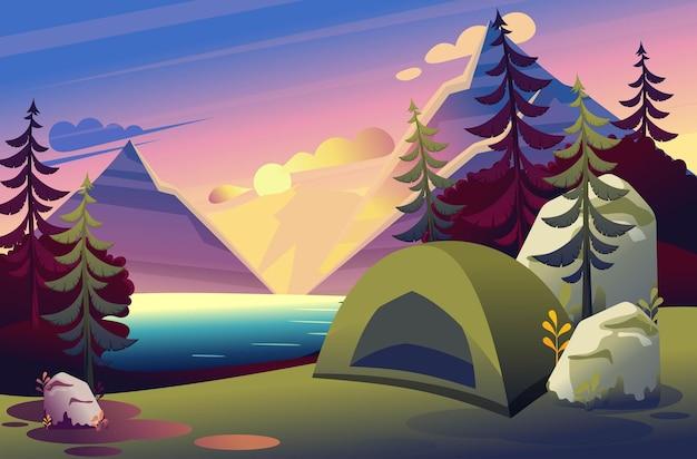 Jasna ilustracja namiotu kempingowego w lesie na tle zachodu słońca nad jeziorem