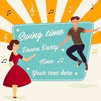 Jasna ilustracja para tańczy boogie-woogie. międzynarodowy dzień tańca