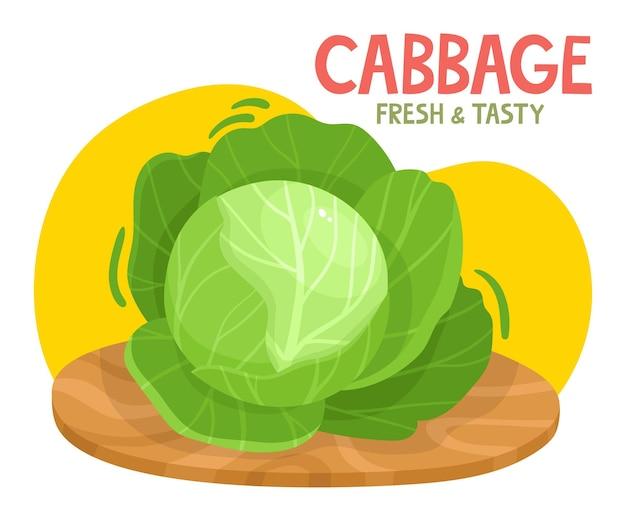 Jasna ilustracja wektorowa kolorowej kapusty świeże warzywa organiczne kreskówka z nazwą