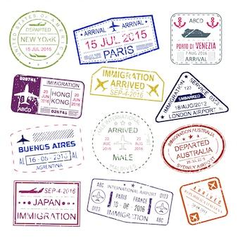 Jasna kolekcja znaczków visa