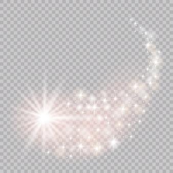 Jasna kometa z. spadająca gwiazda. efekt świetlny blasku.