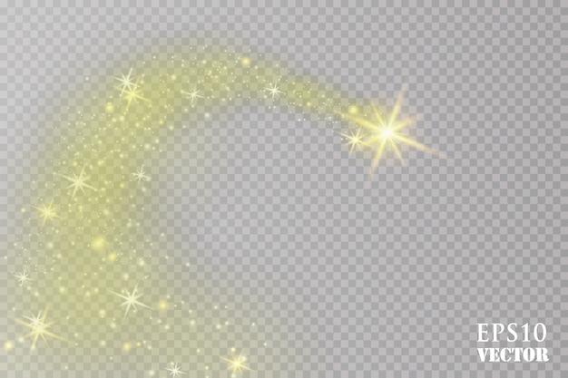 Jasna kometa z. spadająca gwiazda. efekt świetlny. ilustracja