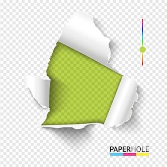 Jasna koncepcja transparent rip edge z odrywanymi kawałkami papieru