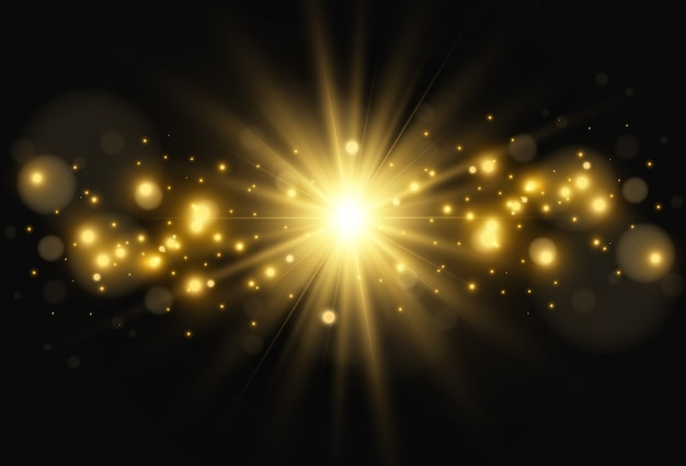 Jasna piękna gwiazda. ilustracja efektu świetlnego na przezroczystym tle.