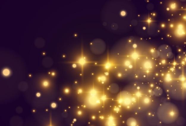 Jasna piękna gwiazda. lśniące magiczne cząsteczki kurzu