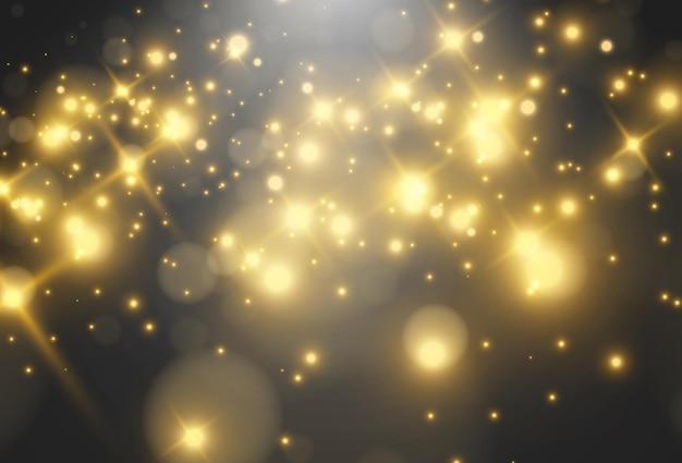 Jasna piękna gwiazdailustracja efektu świetlnego na przezroczystym
