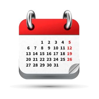 Jasna realistyczna ikona kalendarza miesiąca z datami na białym