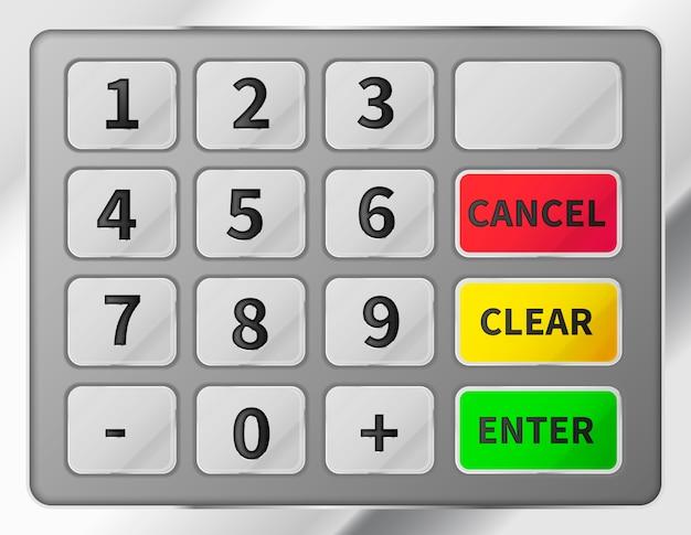 Jasna realistyczna klawiatura bankomatu. błyszcząca metaliczna klawiatura automatycznego bankomatu