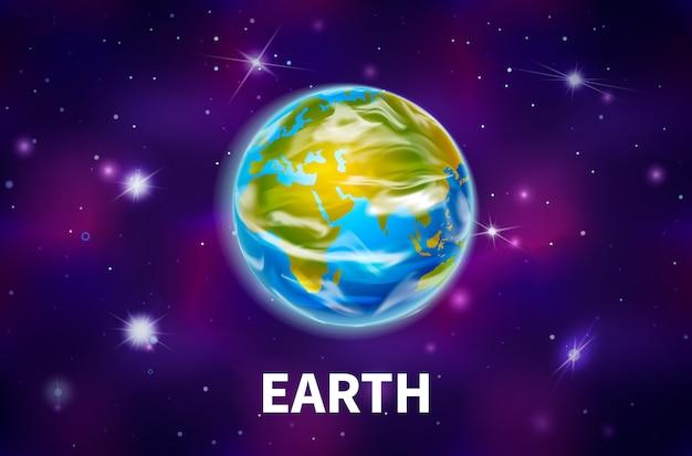 Jasna realistyczna planeta ziemia na kolorowe tło kosmosu z jasnymi gwiazdami