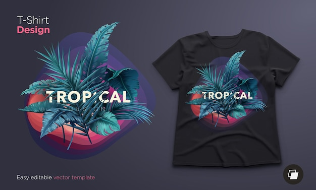 Jasna tropikalna ilustracja na projekt koszulki