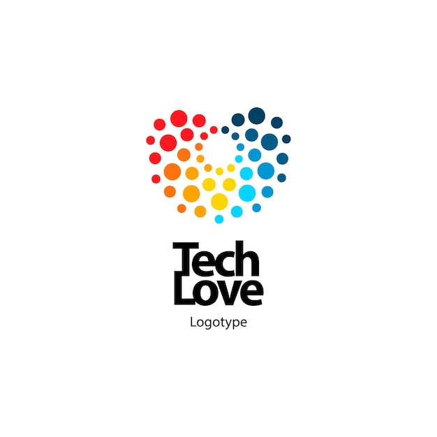 Jasne abstrakcyjne technologiczne serce z kolorowych kółek digital tech love symbol beauty design