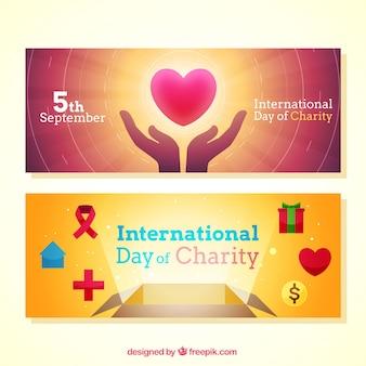 Jasne banery charytatywne dzień